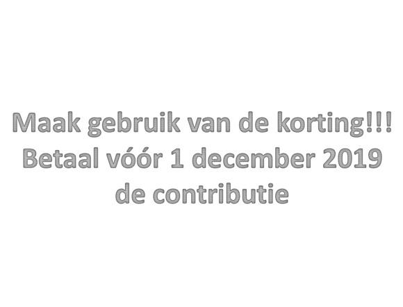 Contributie voor 1 december!